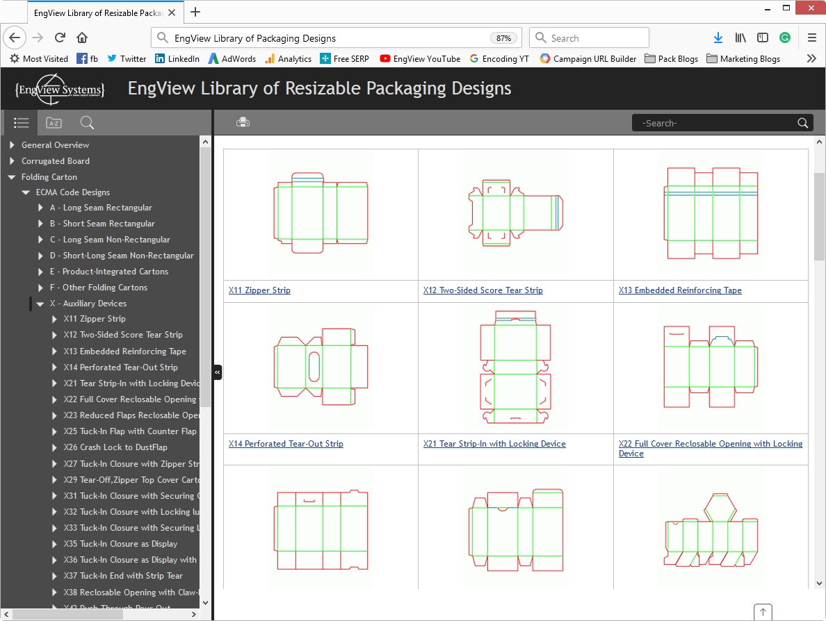 EngView's packaging library includes ECMA standards.