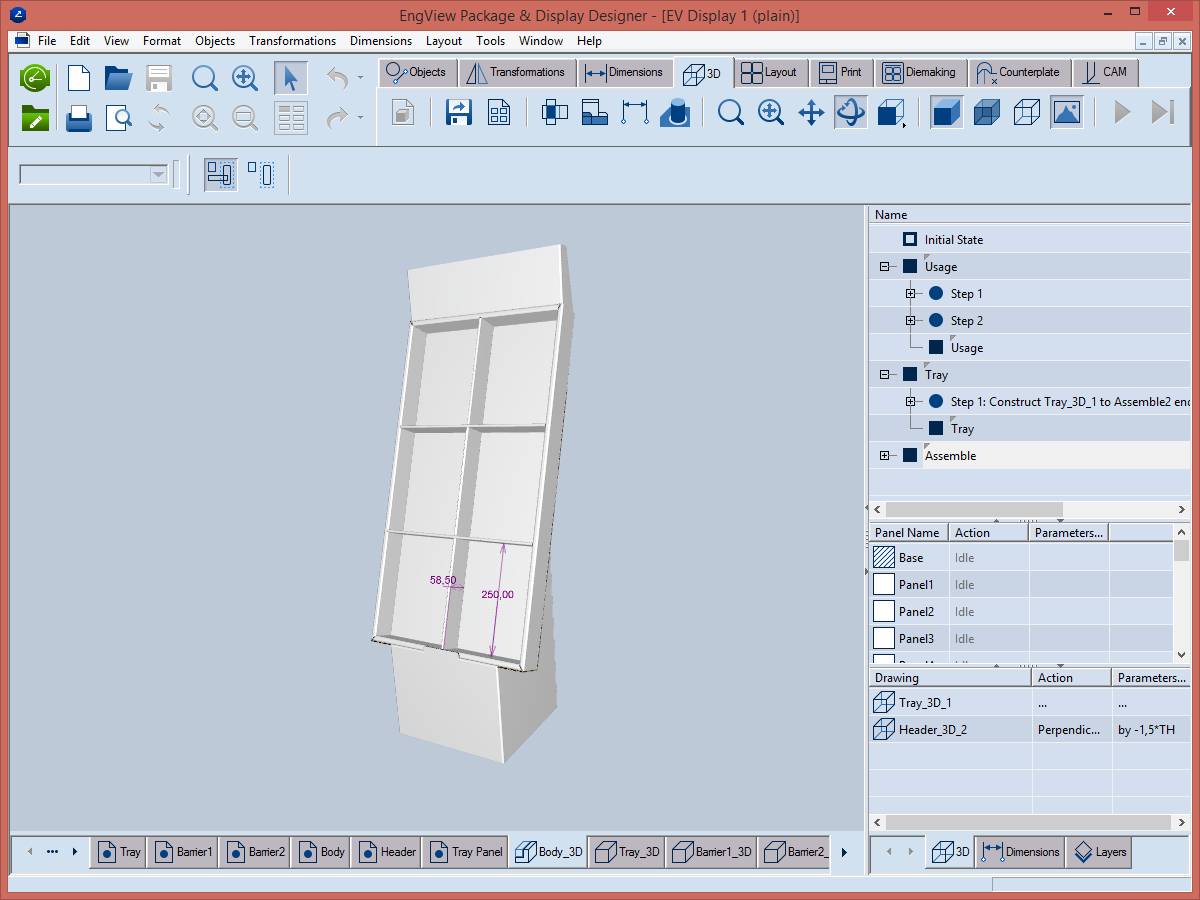 The POP/POS displays software shows 3D models.