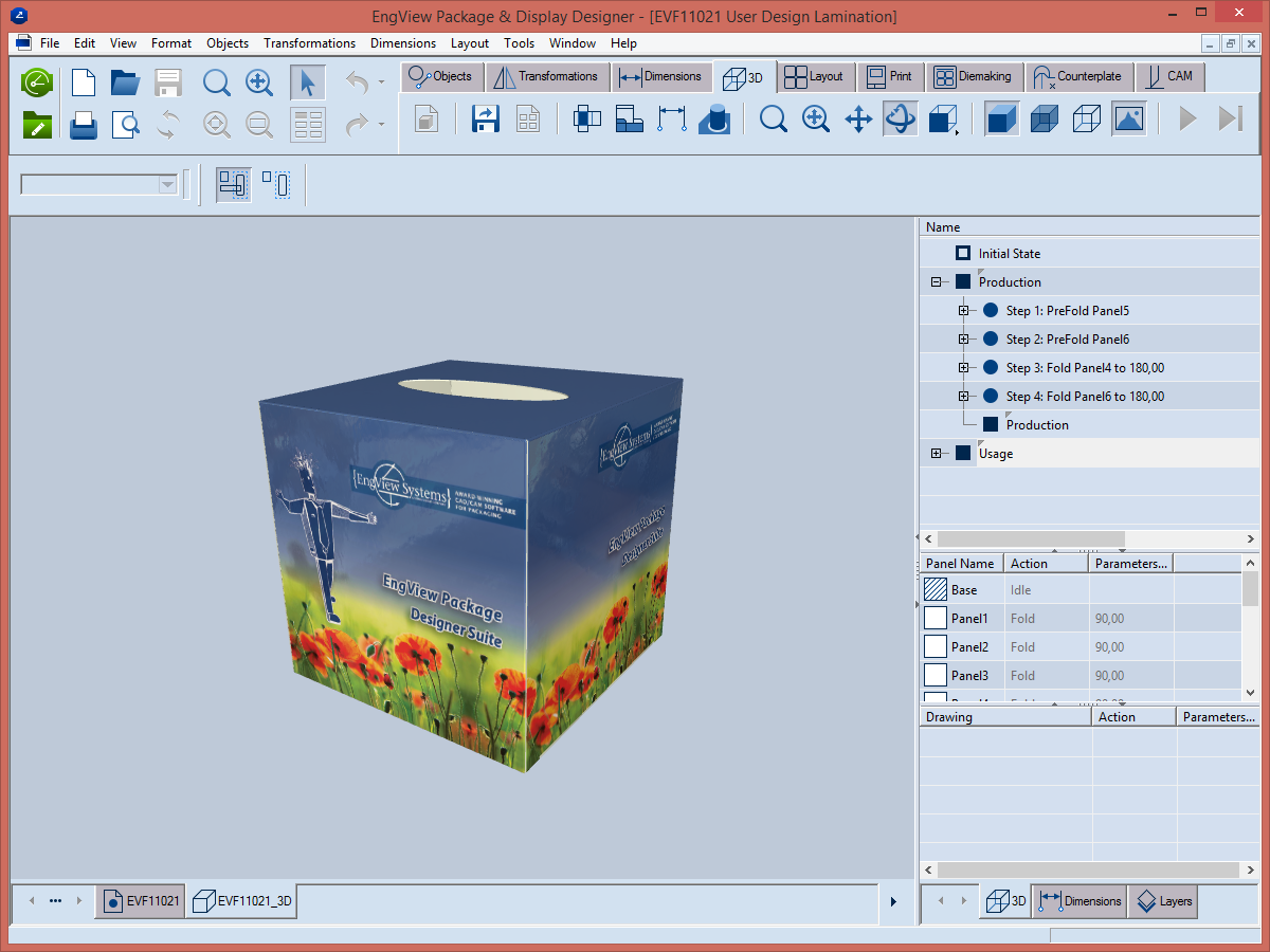 3D presentation of a tissue packaging box.