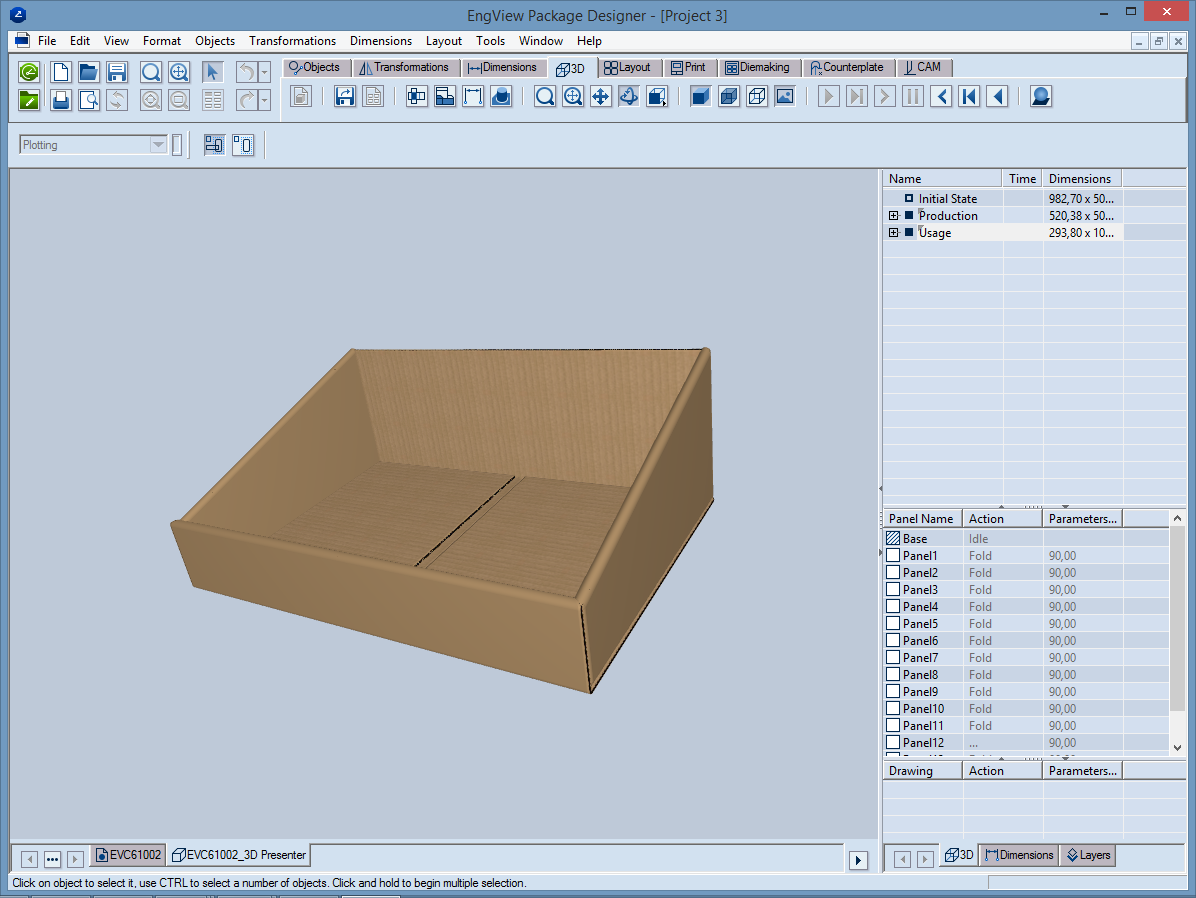 A 3D modelling of a corrugated tray.