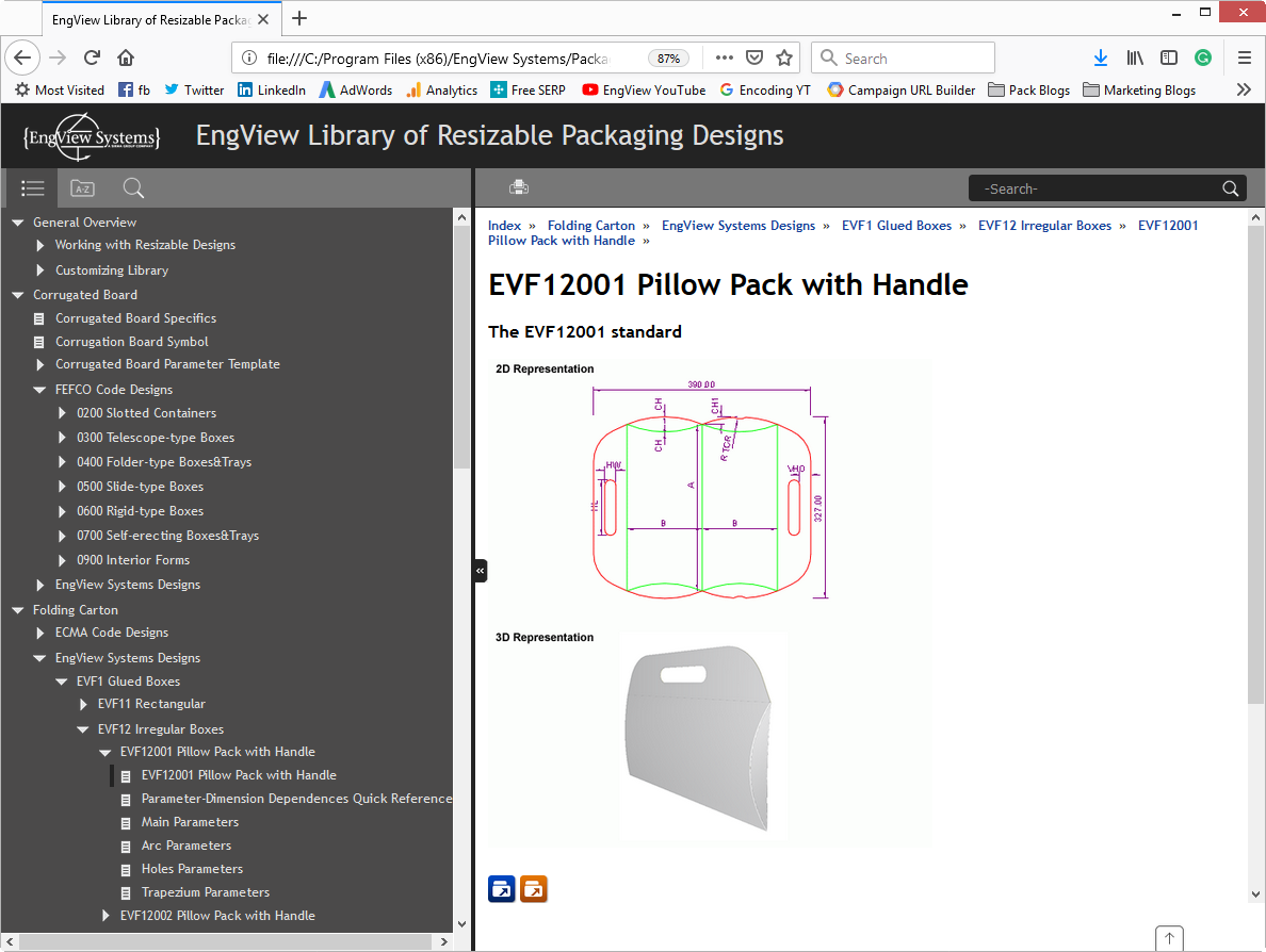 EngView's packaging CAD offers 2D/3D preview
